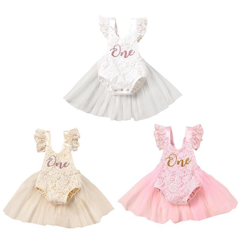Rompers 2021 Born Baby Girls Romper Dress Mesh Lace Swing Ruffles Half Skirt Letter Print Little Princess Party Daily Wedding Dresses