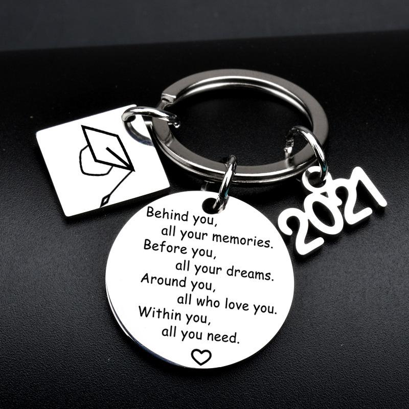 Kimter Student Key Rings 2021 Graduation Gifts Bracelets Inspirational Keychain Bangle Bag Pendant Keyrings for Girls Boys Free DHL W66F