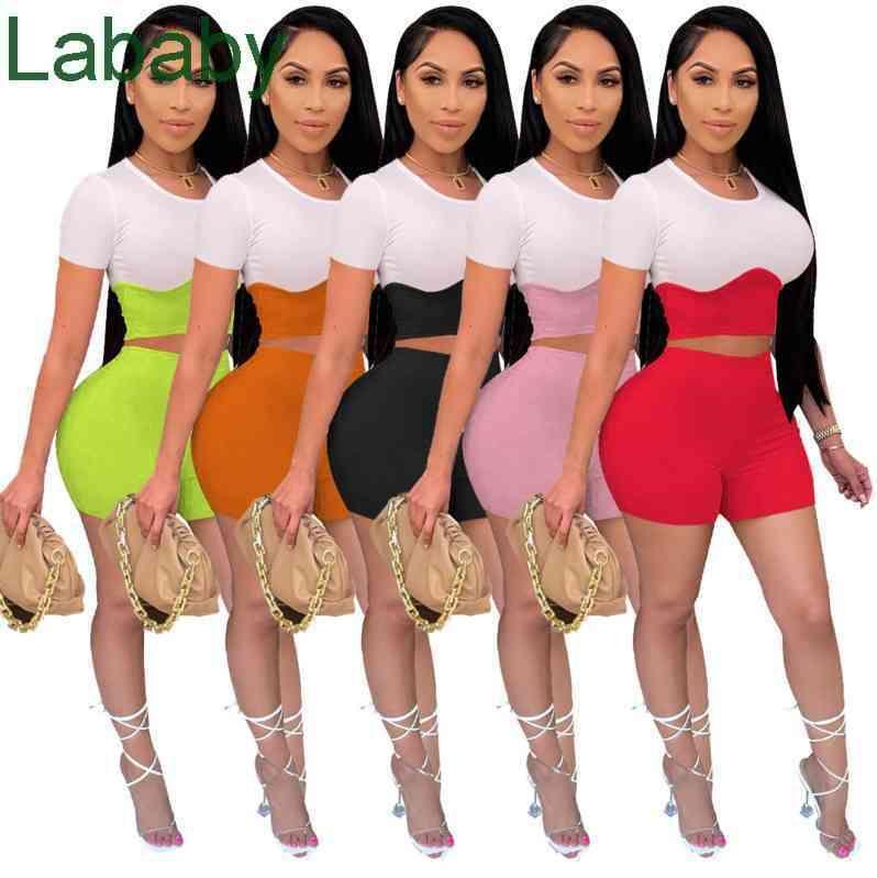 Women Tracksuits Two Pieces Set Designer 2021 Summer Colour Contrast Stitching Short Sleeve Shorts Casual Slim Vest Pants Sportswear