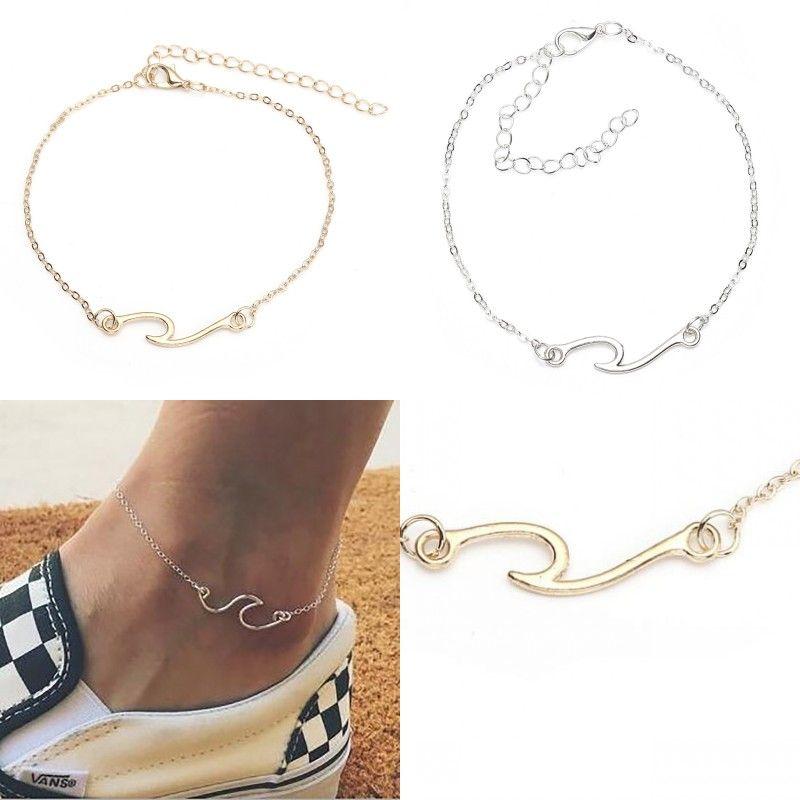 20pcs / lot 여성 실버 웨이브 체인 Ankle Anklet Bracelet 맨발 샌들 비치 발 쥬얼리 Edess RRVX5 223 W2