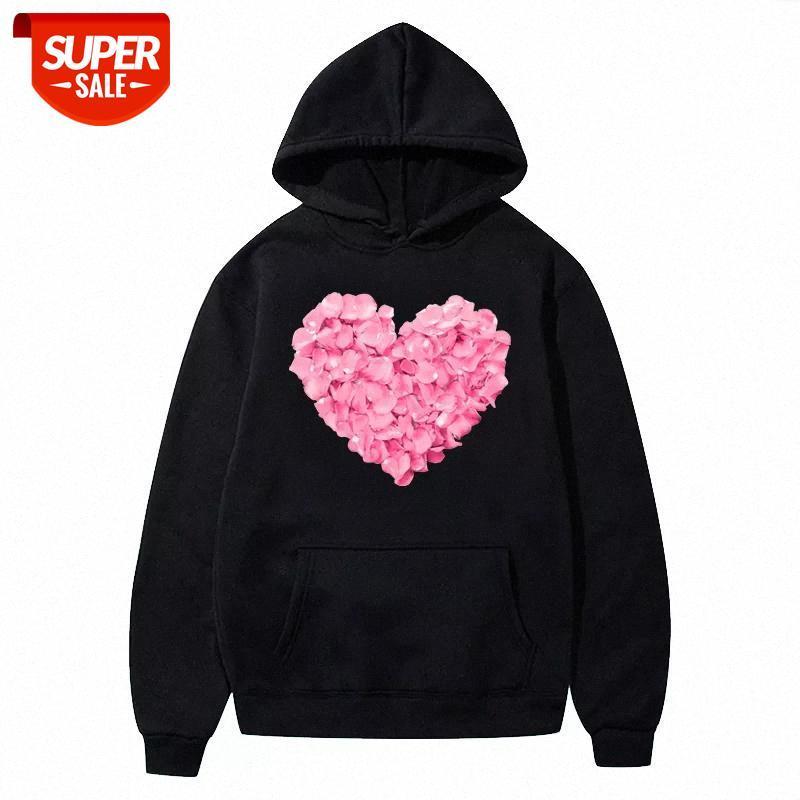 Hoodies flores cor-de-rosa coração impressão mulheres estética harajuku moletom com bolso manga comprida pulôver casual ropa mujer festa # rx70