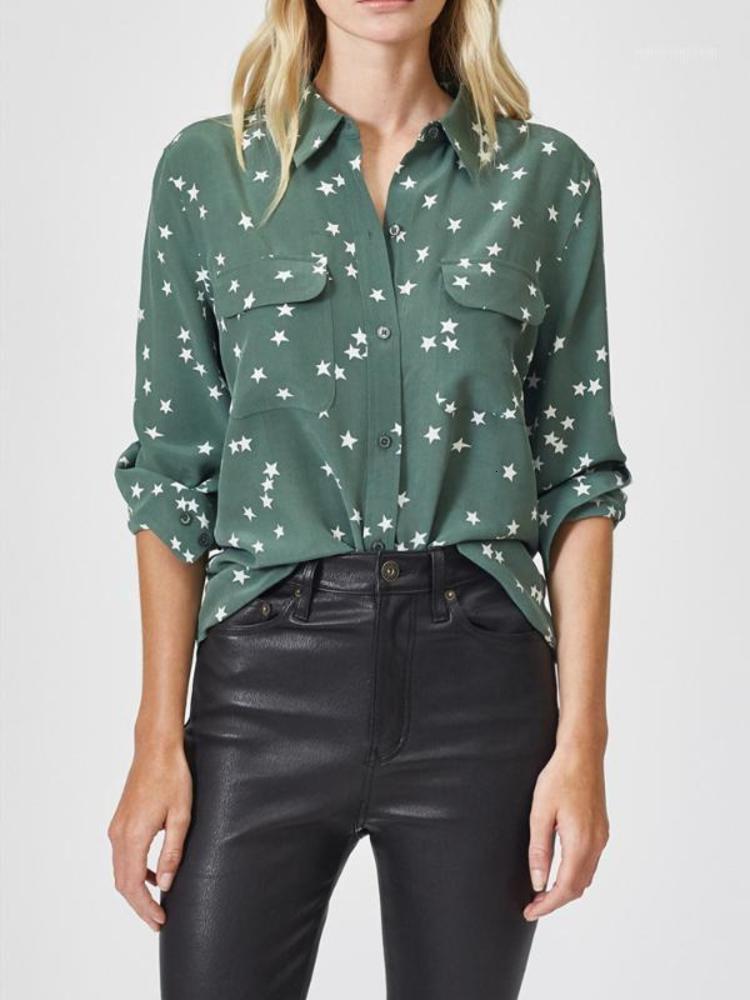 Estrellas Imprimir 100% Seda Camisa de la mujer Cuello de giro de la manga larga Blusa femenina Bolsillas y camisas Top1