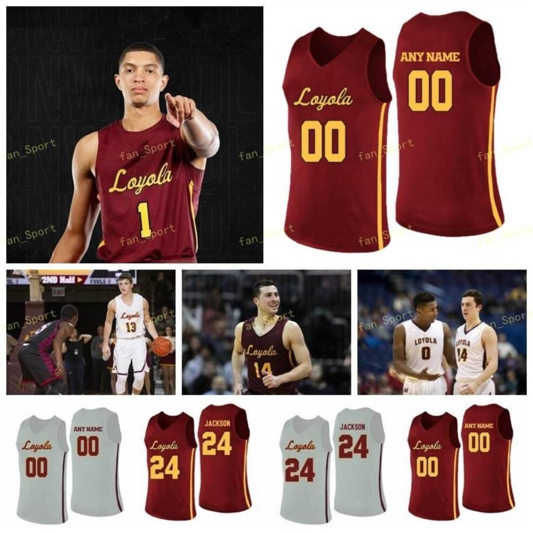 NCAA College Loyola Chicago Ramblers Basketball Jersey 12 Christian Negron 12 Marquise Kennedy 13 Clayton Custer Custom genittelt