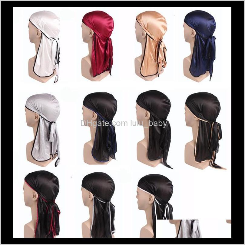 Cappelli dei cappelli del berretto / cranio Cappelli, scarpe Guanti Guanti Consegna di goccia 2021 Moda Mens Satin Durags Bandanna Turban Parrucche Uomo Seta Durag Headwear Testa