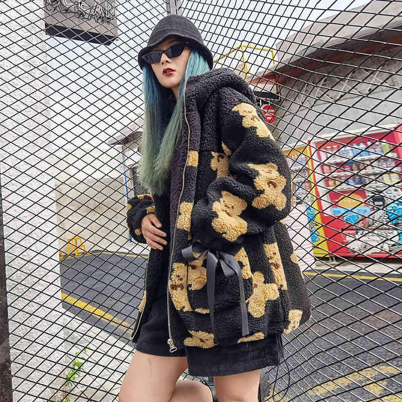 Sopleas suéter mujeres más terciopelo cordero pello abrigo suelto con capucha de moda de moda para damas oso top de la longitud media