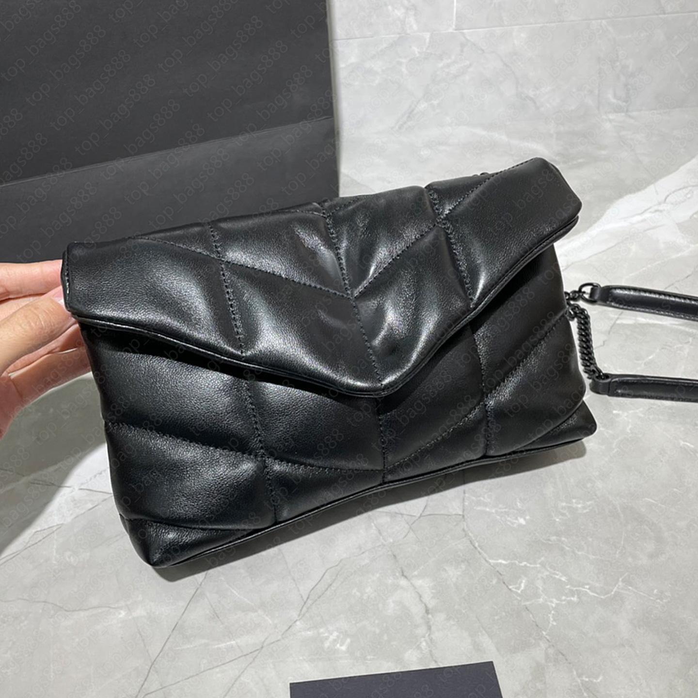 Luxurys Designer Taschen Top Qaulity Sacs à Hauptfrauen Handtaschen Echtes Leder Schwarz Lammfell Mini Loul0u Pufferr Umschlag Tasche