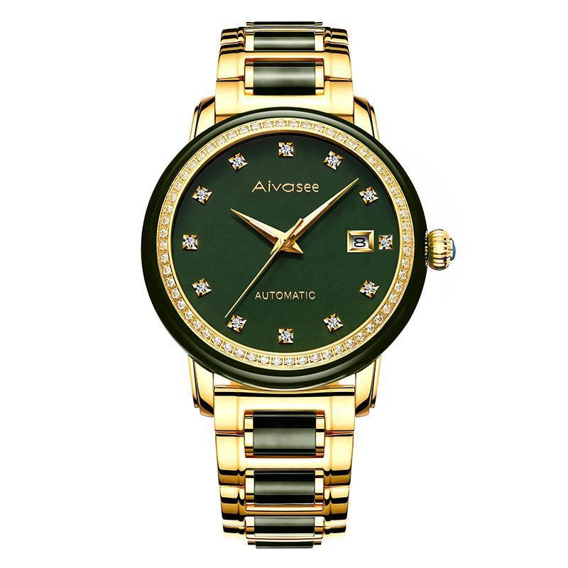ساعات المعصم 1963 أزياء رجال الأعمال الساعات التلقائي بالكامل 100٪ اليشم آلات النساء هدية فريدة زوجين ساعة