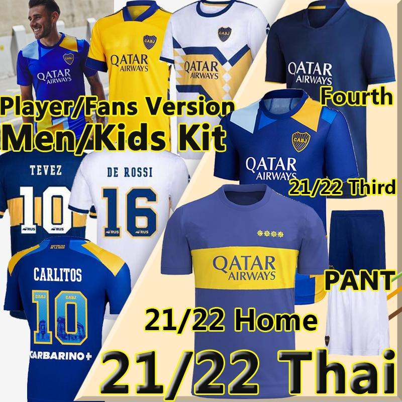 21 22 Boca Juniors Soccer Jerseys المشجعين لاعب النسخة 2021 2022 Tevez Maradona Carlitos Gago Camiseta de Fútbol Men + Kids Kits Football Commet