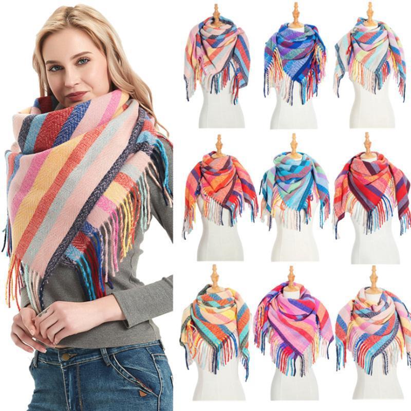 Châle longue de la mode Womens Wrappe Grands foulards tricotés Cachemmere Senteur Écharpe à carreaux