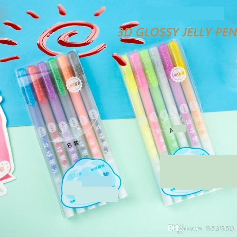 Ujlm colin diydiy 890 stereo pittura fluorescente penne pittura a mano graffiti manuale account studente creativo 3d gelatina penna set