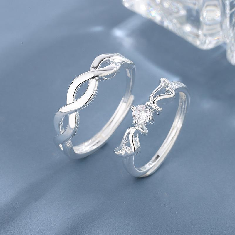 Love Ring engraved Couple a pair opening of simulation diamond wedding men and women long distance love jewelry gifts