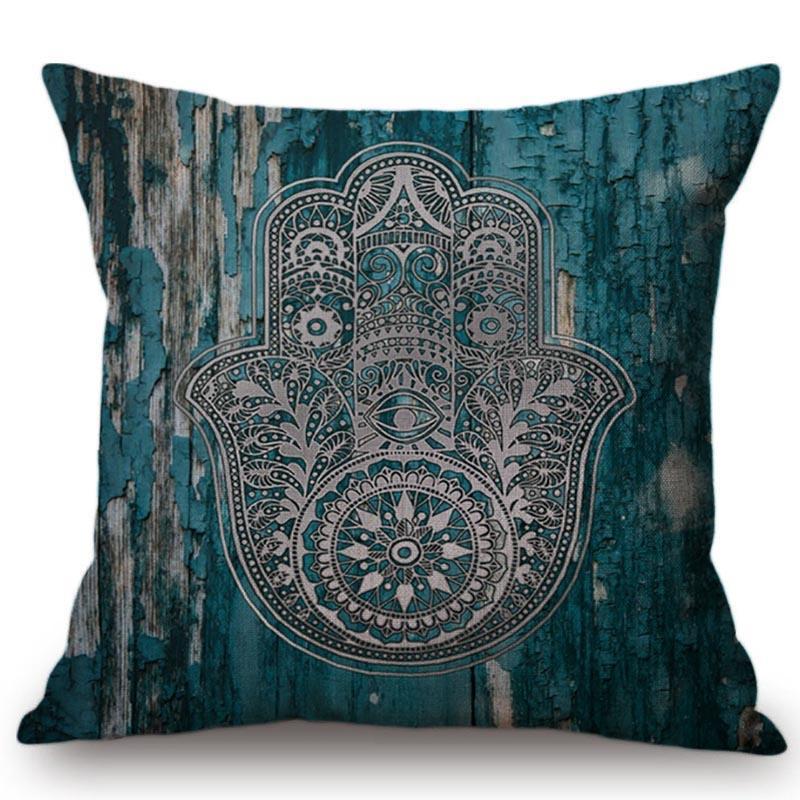 Bohemia Estilo Religión Patrón de palma Hogar Sofá Decoración Tiro de almohada Cubierta de flor geométrica Diseño Mandala Cojín Cojín / Decorativo