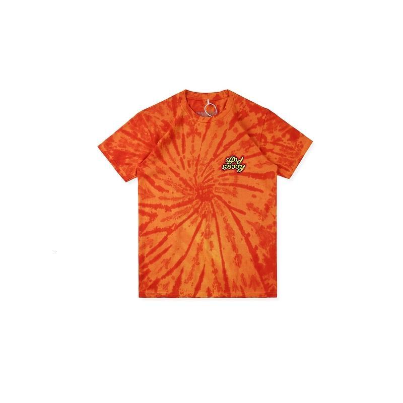 Travis Scott X Reeses Puffs Trace-teinture Orange Teams Tees HiPhop Streetwear Street Coton T-shirt Style d'été