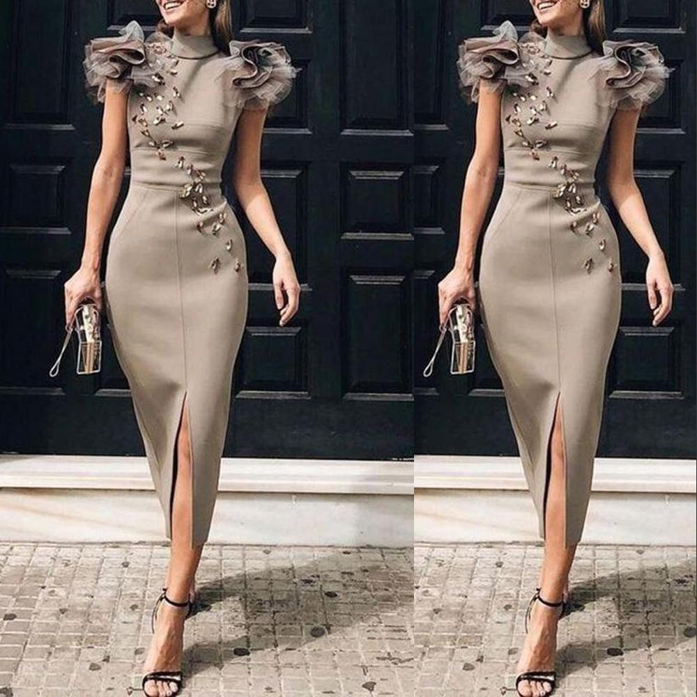 2021 Short Prom Dresses Sexy High Neck Crystal Beads Arabic Front Split Zipper Back Formal Party Dress Evening Gowns Sheath Tea Length Cap Sleeves Ruffles