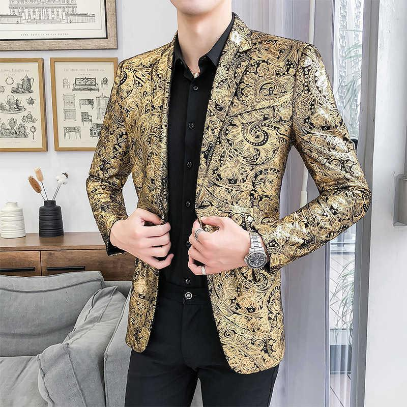 Tuxedo formal clothing slim suit jacket men's luxury paisley flower pattern fancy suit jacket nightclub dance mens casual blazer X0615