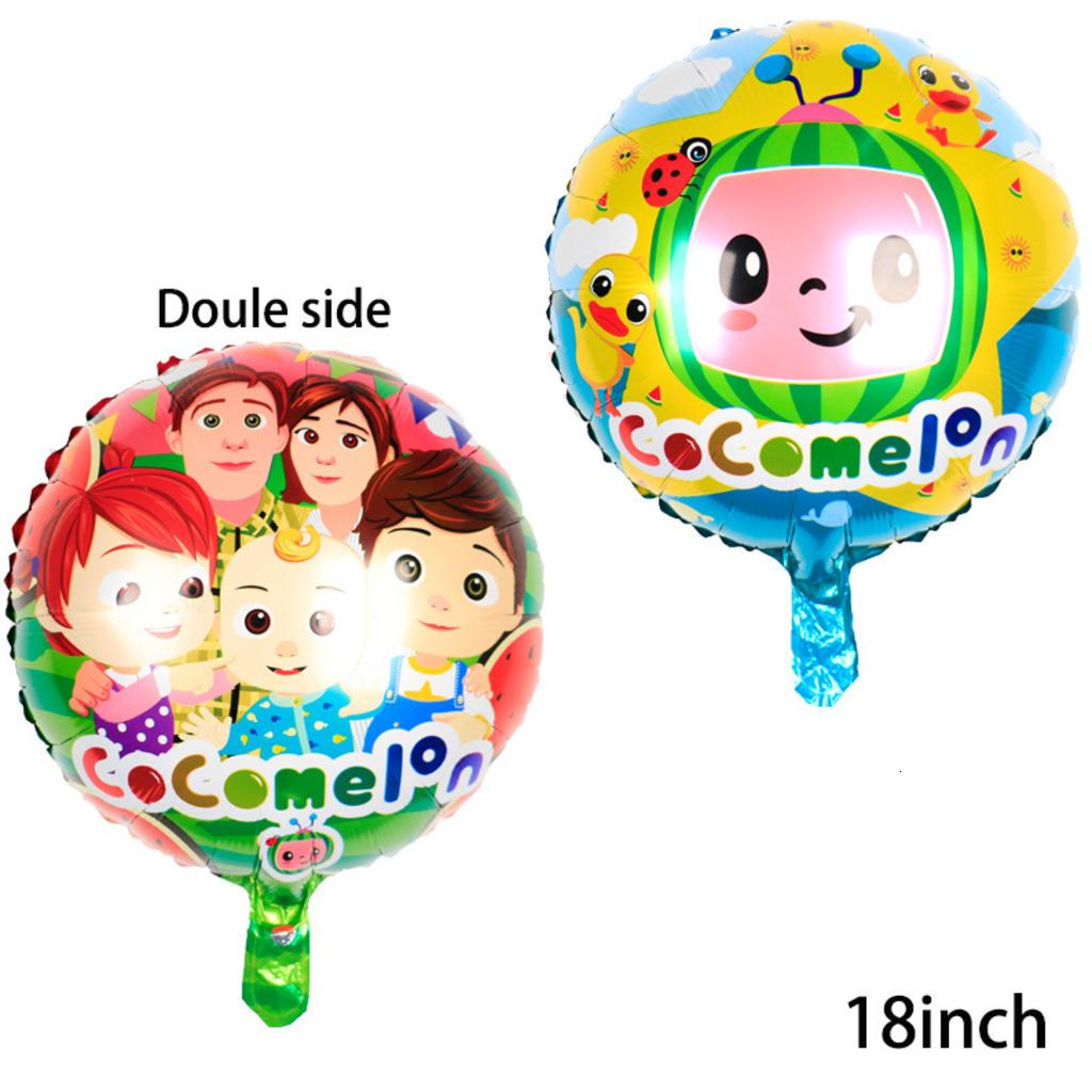 50pcs/pack 18 inch COCOMELON balloon cartoon watermelon character aluminum film balloons double sided birthday party decoration balls G31805