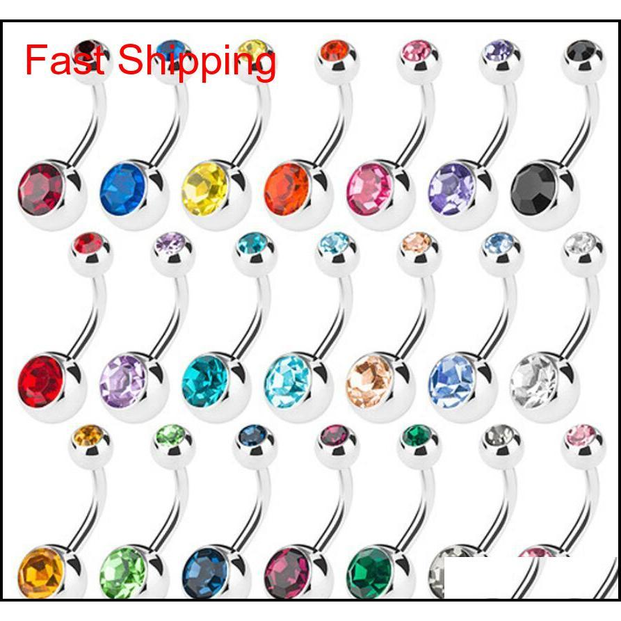 & Bell Jewelry Drop Delivery 2021 Sier Stainless Steel Belly Button Navel Rings Crystal Rhinestone Body Piercing Bars Jewlery For Womens Biki