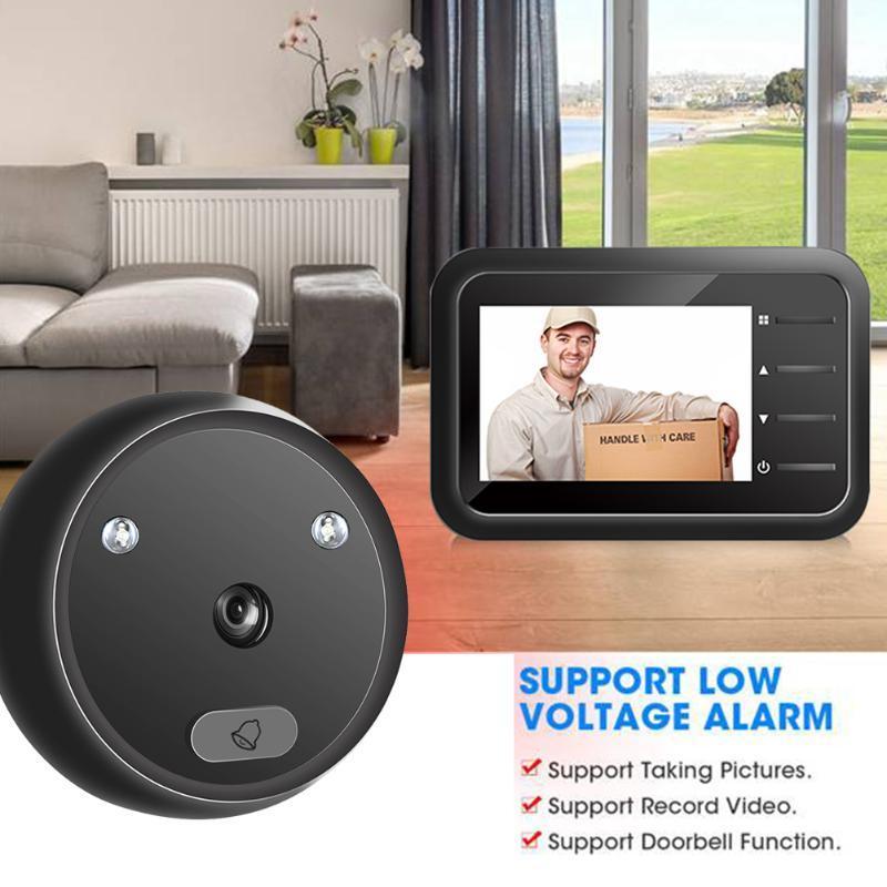 Kapı Zili R11 Dijital Kapı Zili Akıllı Elektronik Peephole Görüntüleyici 2.4 inç LCD Renkli Ekran IR Gece Görüş Kapı Video Kamera Bell