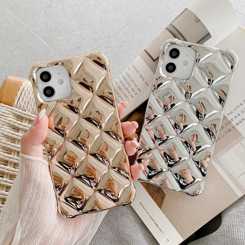3D-Plattierungsgeometrische Massivfarben-Telefon-Fälle für iPhone 12 pro max 11 xs xr x 8 7 plus Fall Weiche TPU-Fundas