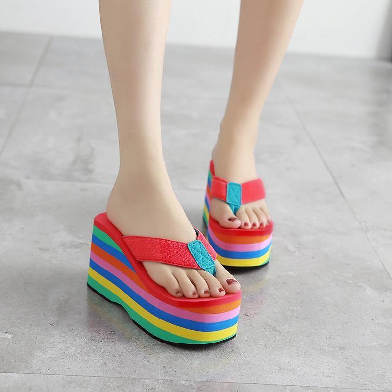 Terlik yaz bayan flip flop açık plaj takozlar kadın platformu konfor slaytlar yüksek topuklu ayakkabı kadın seksi vmpg