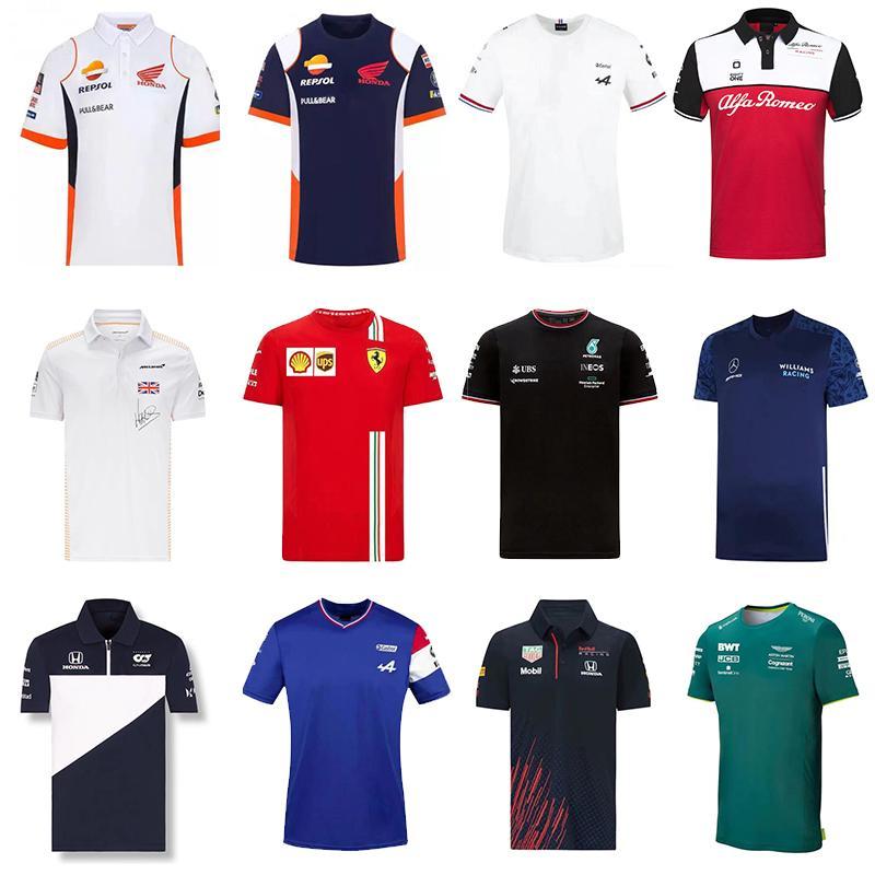En Kaliteli F1 Formula Bir Yarış Takım Elbise Araba Takımı Logo Fabrika Üniforma Polo Kısa Kollu Tişört Erkekler Özelleştirilebilir 2021