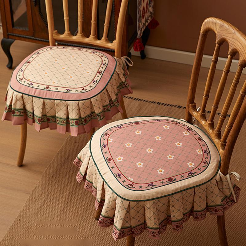 Natural Cotton Linen Chair Cover Cushion Classical Simple Printed Seat Cushions Four Seasons Universal Non-slip Covers