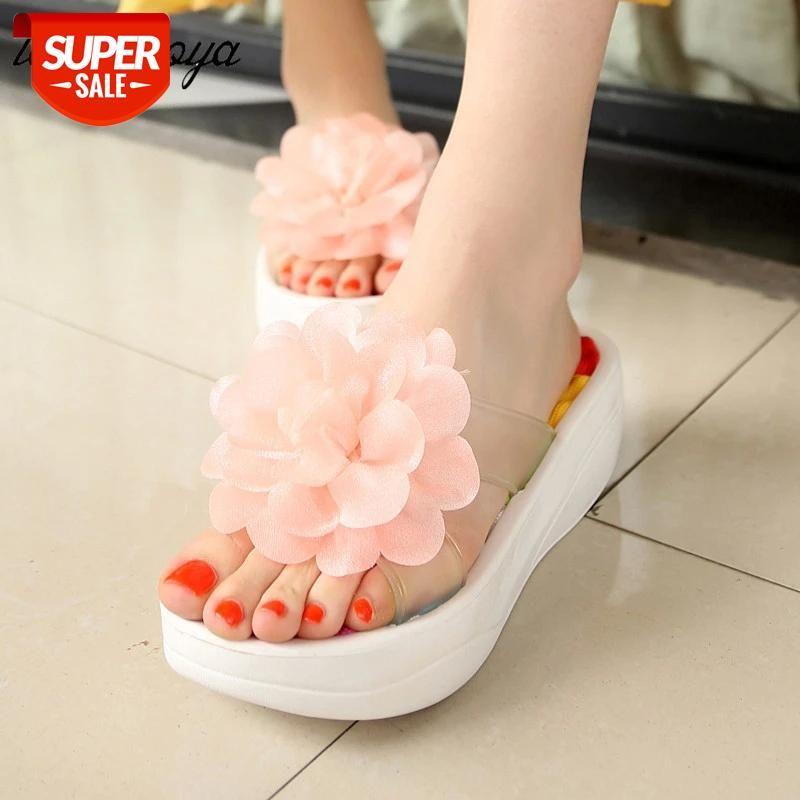 pvc flower Flip flop Sandals Women Platform Flops Designer slippers Swing Wedge Hole Shoes #Jn7b