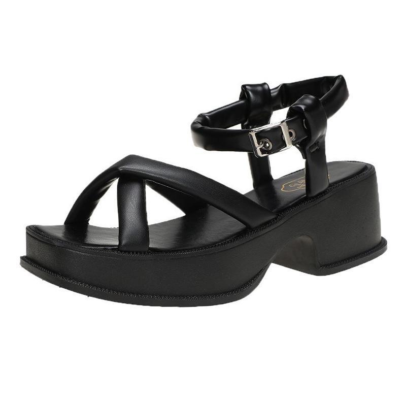 2021 Yaz Kadın Beyaz Platform Sandalet Kadın Rahat Ayakkabılar Siyah Tıknaz Sole Ayak Bileği Kayışı Sandalet Kadın Spor Sandels Soityosghlj