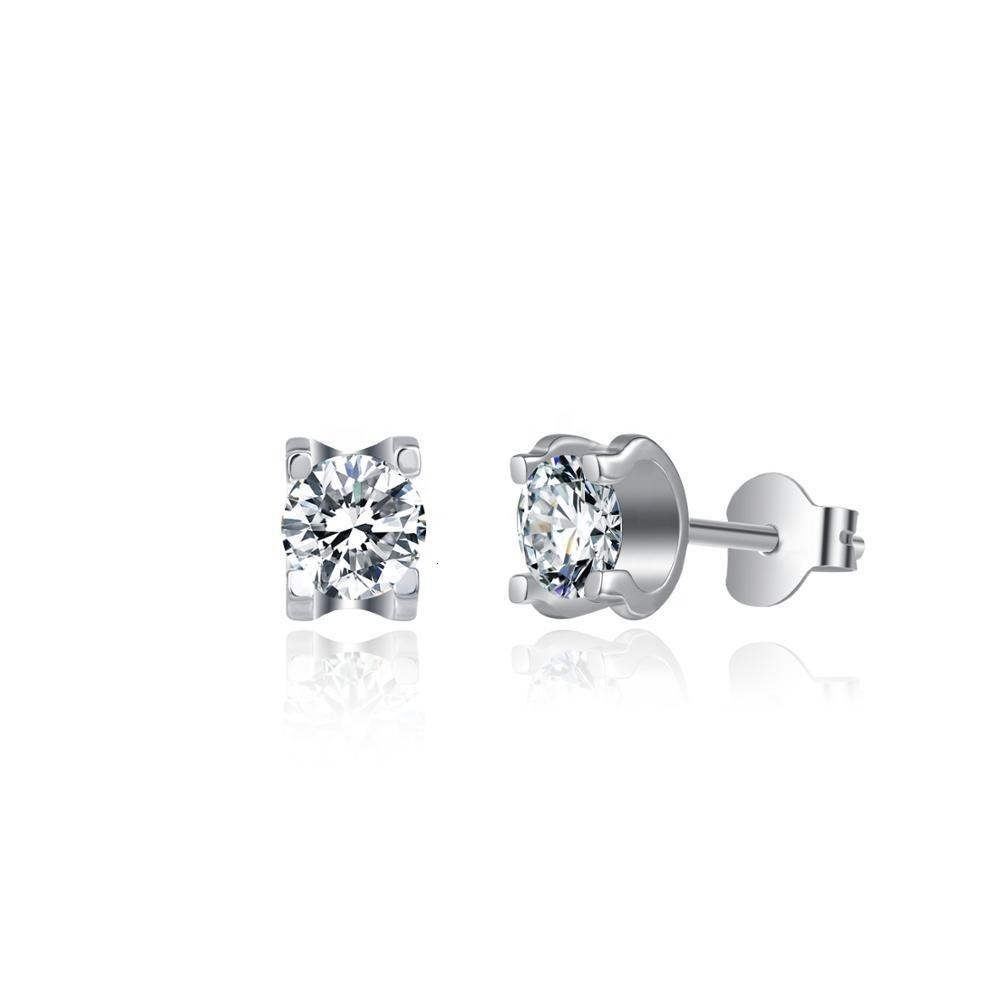 DIRINING MOISSANITE Diamant-Ohrringe Schmuck Frauen Ohrring Stud Sterling Sier 925 Runde Mosanit Ohrringe