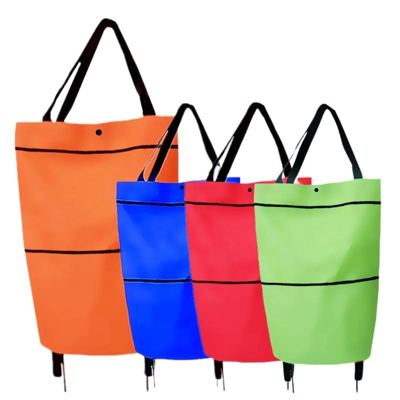 Portable Eco Shopping Bag With Wheels Oxford Stretch Supermarket Trolley Bags Multicolor Convenient Reusable Waterproof 5 5hj J2