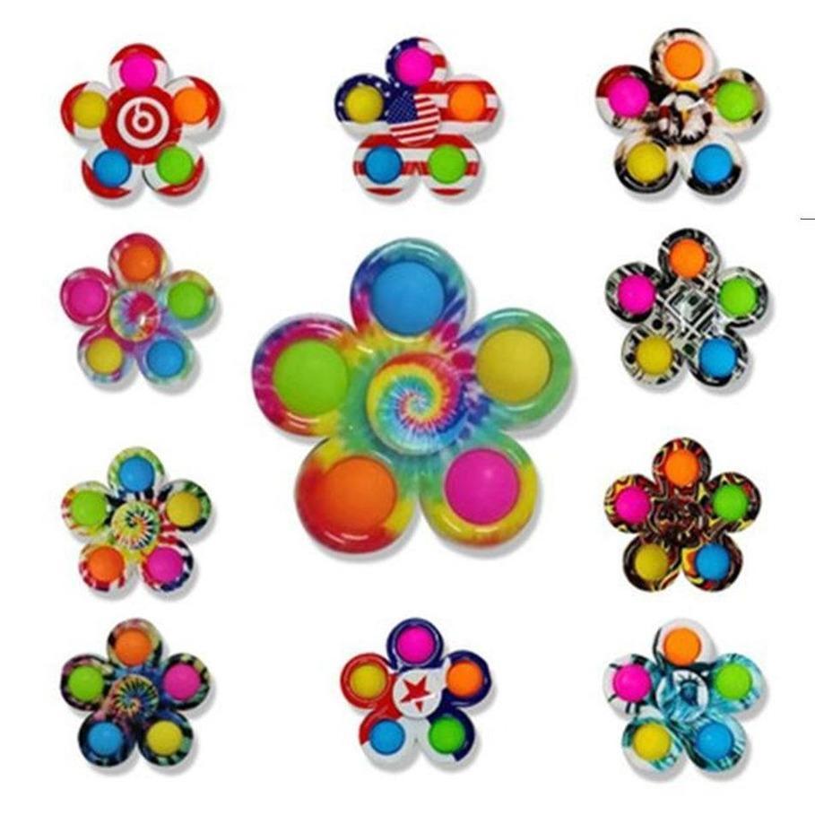 Poussez des jouets de fidget simple plus bas plus 5 côtés doigt jouet jouet jeu Spinner anti-stress coloré