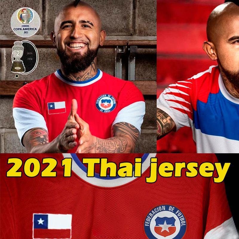 2021 Chiles Futbol Formaları Copa America Pulgar 13 A.Vidal 17 Mora 11 Vegas 8 Medel 20/21 Erkekler Jersey Futbol Gömlek Eğitimi