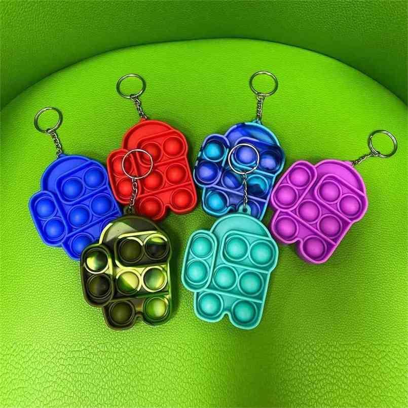 Tiktok Camuflagem Tie Tye Fidget Brinquedos Bubble Poppers Board Simples Chaveiro Pressione POP Sensory Deco Toy Keychain Saco Pendant H41kov4