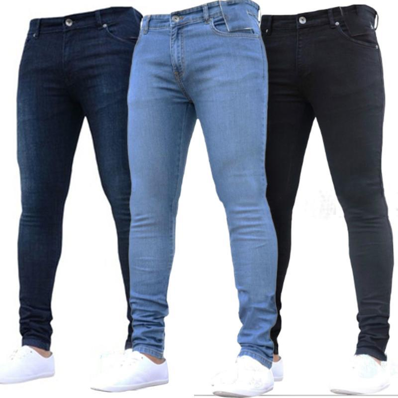 Men's Jeans Trousers With High Waist Zipper Pulled Casual Thin Fitting Pants Plus Size Pencils Denim Skinny For Men