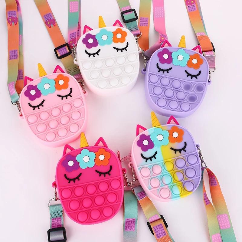 New Unicorn Simple Dimple Messenger Bag Fidget Toys Push Bubble Antistress Children Toy POP Keychain Wallet for Children Toys