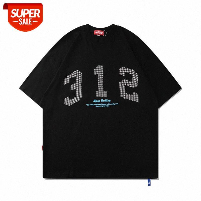 뜨거운 다이아몬드 디지털 인쇄 반팔 티셔츠 남성용 인스테르 패션 패션 브랜드 느슨한 둥근 목 5 점 슬리브 여름 추세 COM # CV8R