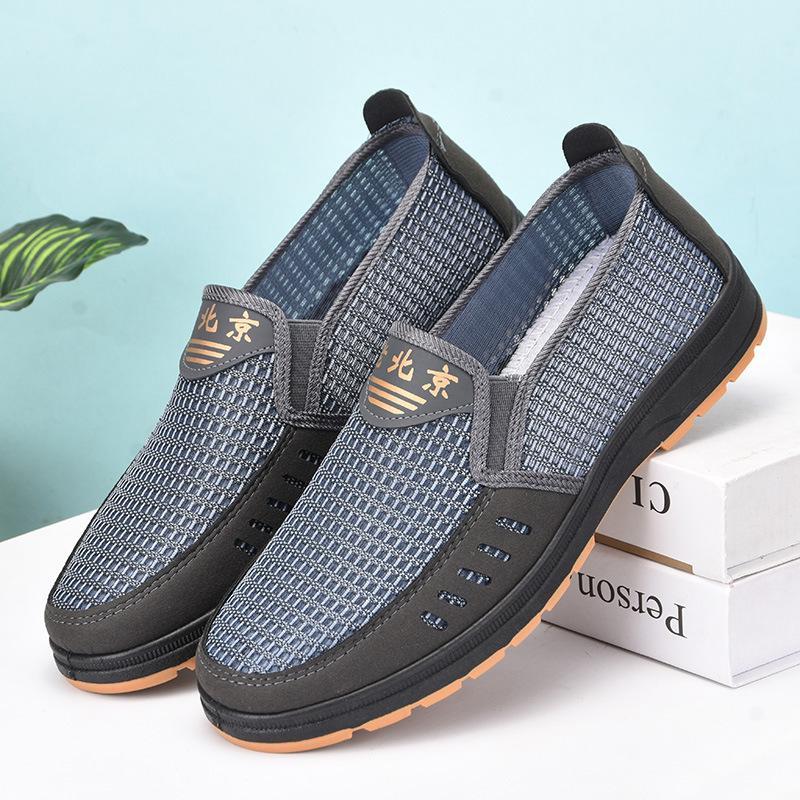 Yaz Örgü Ayakkabı Erkek Casual Nefes Eski Pekin Bez Ayakkabı Orta Yaşlı Ve Yaşlı Kurulu Ayakkabı Mesh İş Erkek