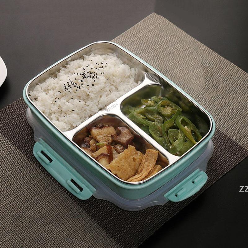 아이들을위한 3 개의 그리드 304 스테인레스 스틸 점심 상자 열 벤토 박스 크리 에이 티브 디자인 식품 컨테이너 도시락 학교 피크닉 HWA8566