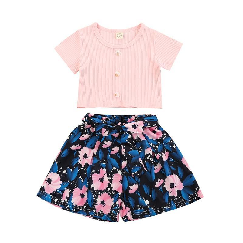 Clothing Sets Summer Baby Girl Clothes Girls Floral Shorts Set Children T-shirt Kids Outfits Breathable For 6 Month-5T