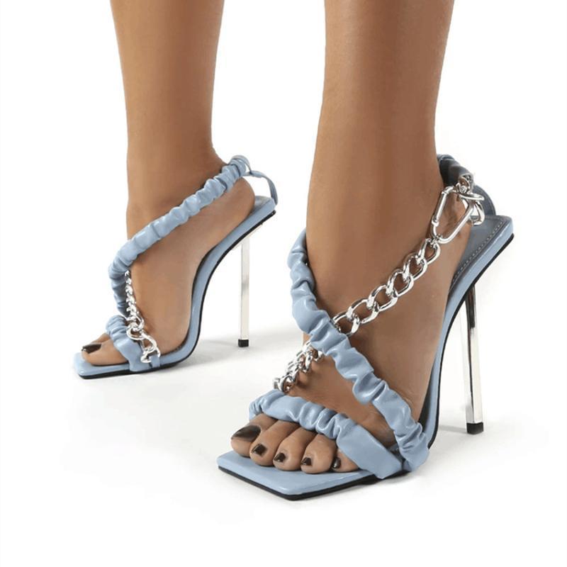 Sandalen savaly frauen 2021 gefaltete metall kette design super high heels sommer peep toe pumpen freizeit party mode schuhe
