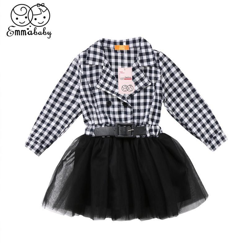 Kız elbiseleri çocuklar için uzun kollu elbise 2021 bahar bebek siyah beyaz ekose prenses 2-7year'ın çocuk vestidos