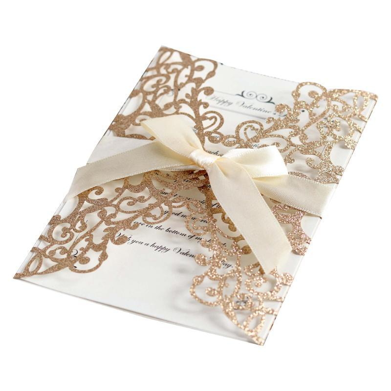 Greeting Cards Invitation Card European Style DIY Hollowed Out Cover With Ribbon Bowknot Party Glitter Wedding Paper Elegant Holiday