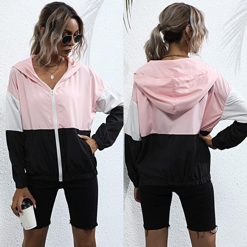 Women Long Sleeve Patchwork Thin Hooded Zipper Pockets Sport Coat Autumn Jacket Women's Hoodies & Sweatshirts