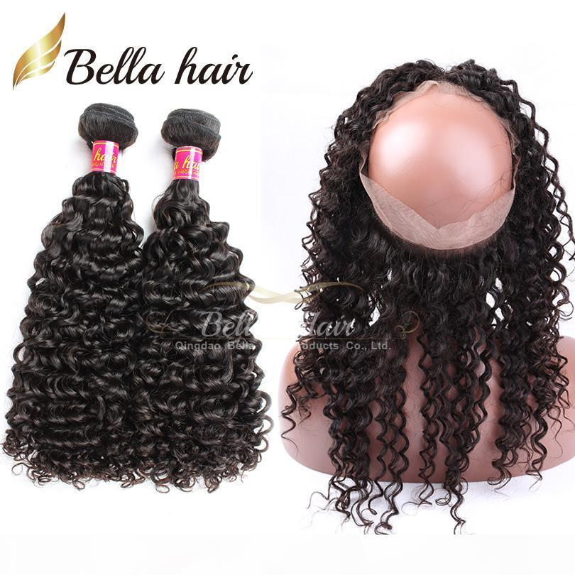 100% Virgin Human Hair Wefts with 360 Lace Frontal Brazilian Hair Bundles Remy Human Hair Extensions Double Weft Curly Weave 7A Bellahair