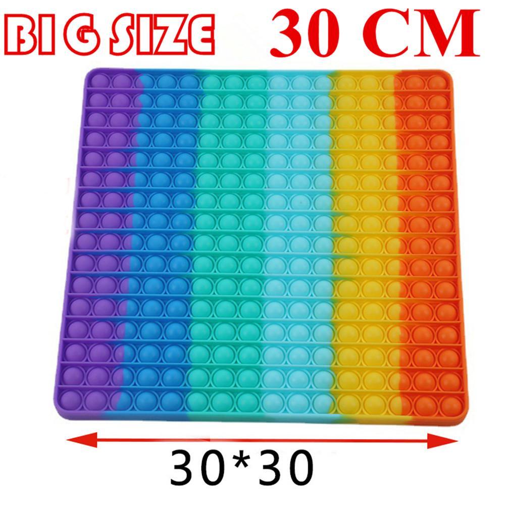 2021 Nuova Super Big Size 30 cm Push Bubble Fidget Giocattoli Autismo Ha bisogno di Squishy Stress Reliever Rainbow Toys Adulto Bambino adulto divertente anti-stress irrequieto