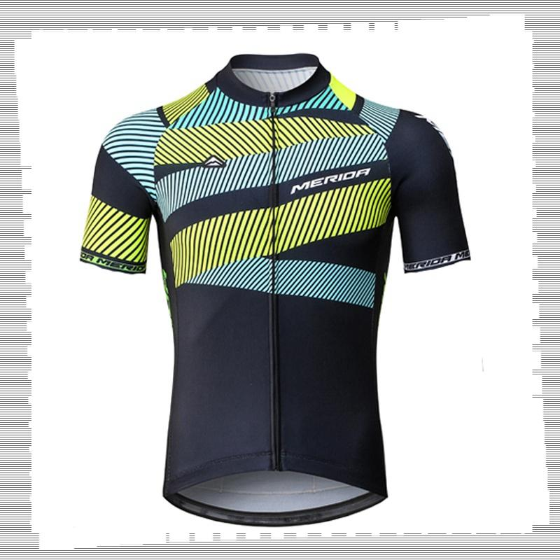 Ciclismo Jersey Pro Team Merida Mens Summer Summer Quick Dry Sports Uniform Mountain Bike Shirts Road Bicycle Tops Racing Abbigliamento Abbigliamento sportivo da esterno Y21041245