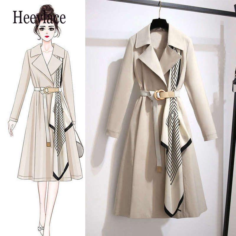 Femme Bureau Trench Automne Coat Vêtements Femmes 2020 Vêtements de Vêtements De Vêtements De Streetwear Streetwear Streetwear Echarpe Patchwork Brise-vent longue avec ceinture
