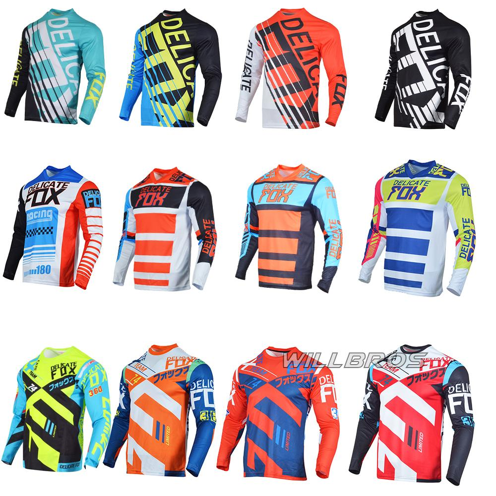 Délicate Fox MX Jersey Demo 360 T-shirt à manches longues à manches longues MTB DH SX VTT Mountain Dirdbike Race