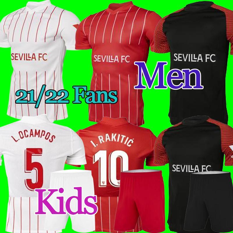 21/22 Camiseta Sevilla FC Soccer Jersey I.rakitic Papu Gómez J.Navas Inicio Camisa de fútbol blanco Hombres niños de distancia Camisa de fútbol rojo # 9 de jong # 7 SUSO 3RD Uniformes de fútbol negro