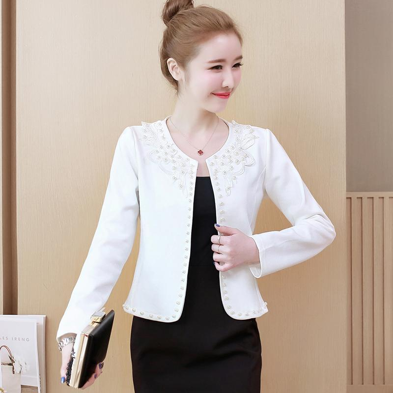 Fashion Large Size Female Wild Embroidery Beaded Small Fragrance Coat Plus Jacket Women's Suits & Blazers